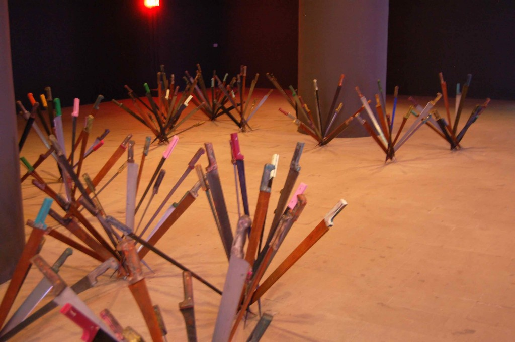 """Adel Abdessemed calls his knife-blossoms """"Nympheas"""""""